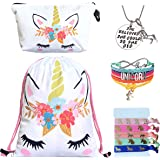 Unicorn Gifts for Girls 5 Pack - Unicorn Drawstring Backpack/Makeup Bag/Bracelet/Inspirational Necklace/Hair Ties (White Flower)