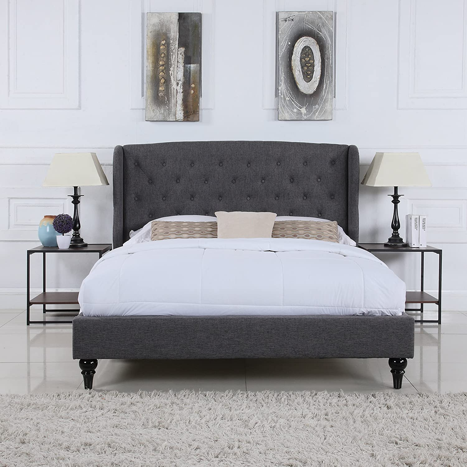 Amazoncom Classic Dark Grey BoxTufted Shelter Bed Frame Queen