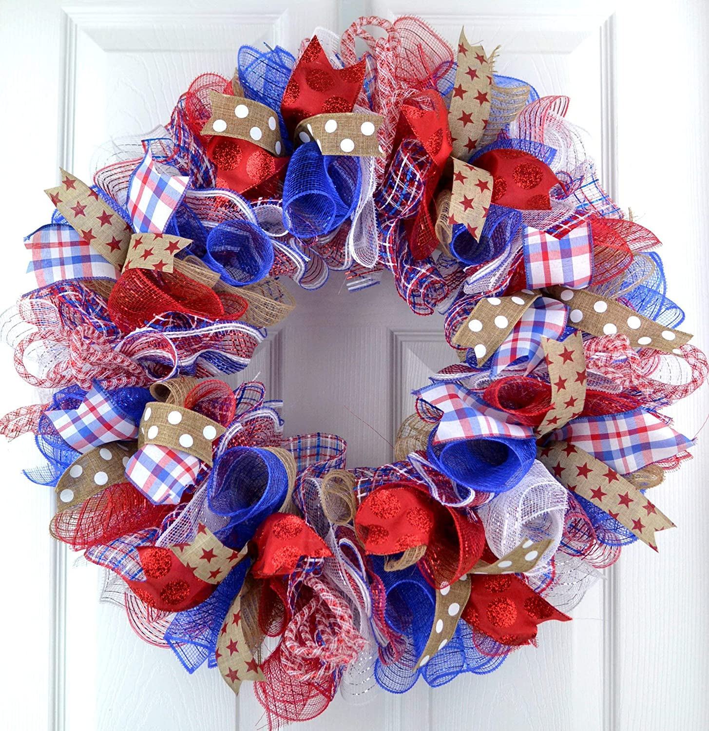 Fourth of July Independence Day Mesh Door Wreath; red white blue jute burlap J1
