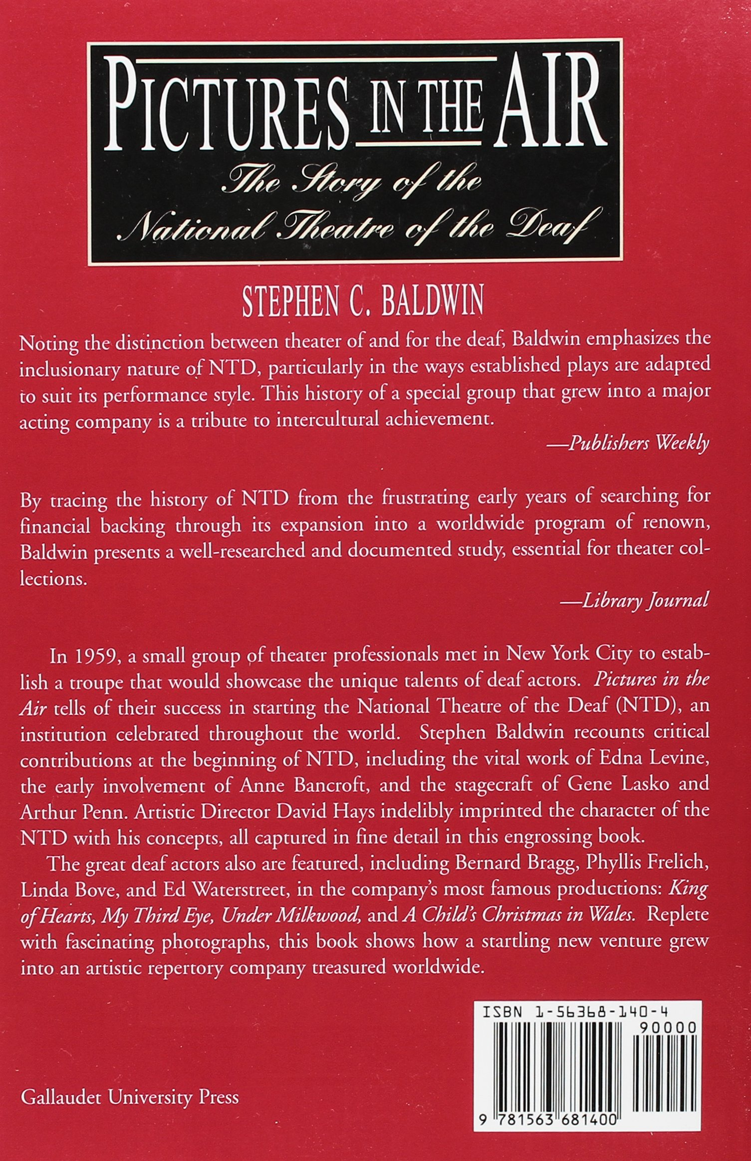 Amazon.com: Pictures in the Air: The Story of the National Theatre of the  Deaf (9781563681400): Stephen C. Baldwin: Books