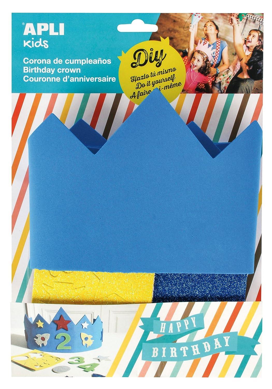 APLI Kids - Corona cumpleaños goma EVA azul, 1 ud: Amazon.es: Juguetes y juegos