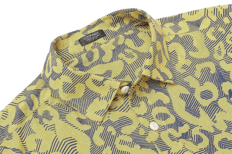 COOFANDY Mens Floral Print Casual Long Sleeve Shirts Slim Fit Button Down Dress Shirt
