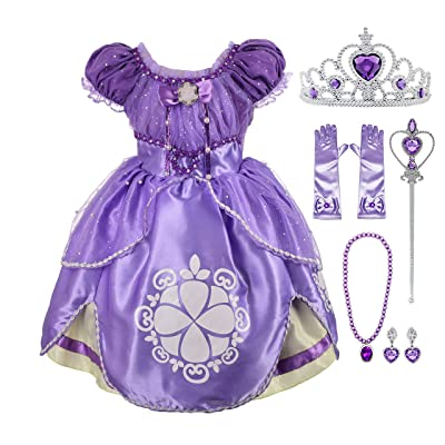 Lito Angels Girls' Princess Dress Up Costume Purple Fancy Party Dress Outfit with Accessories: Clothing