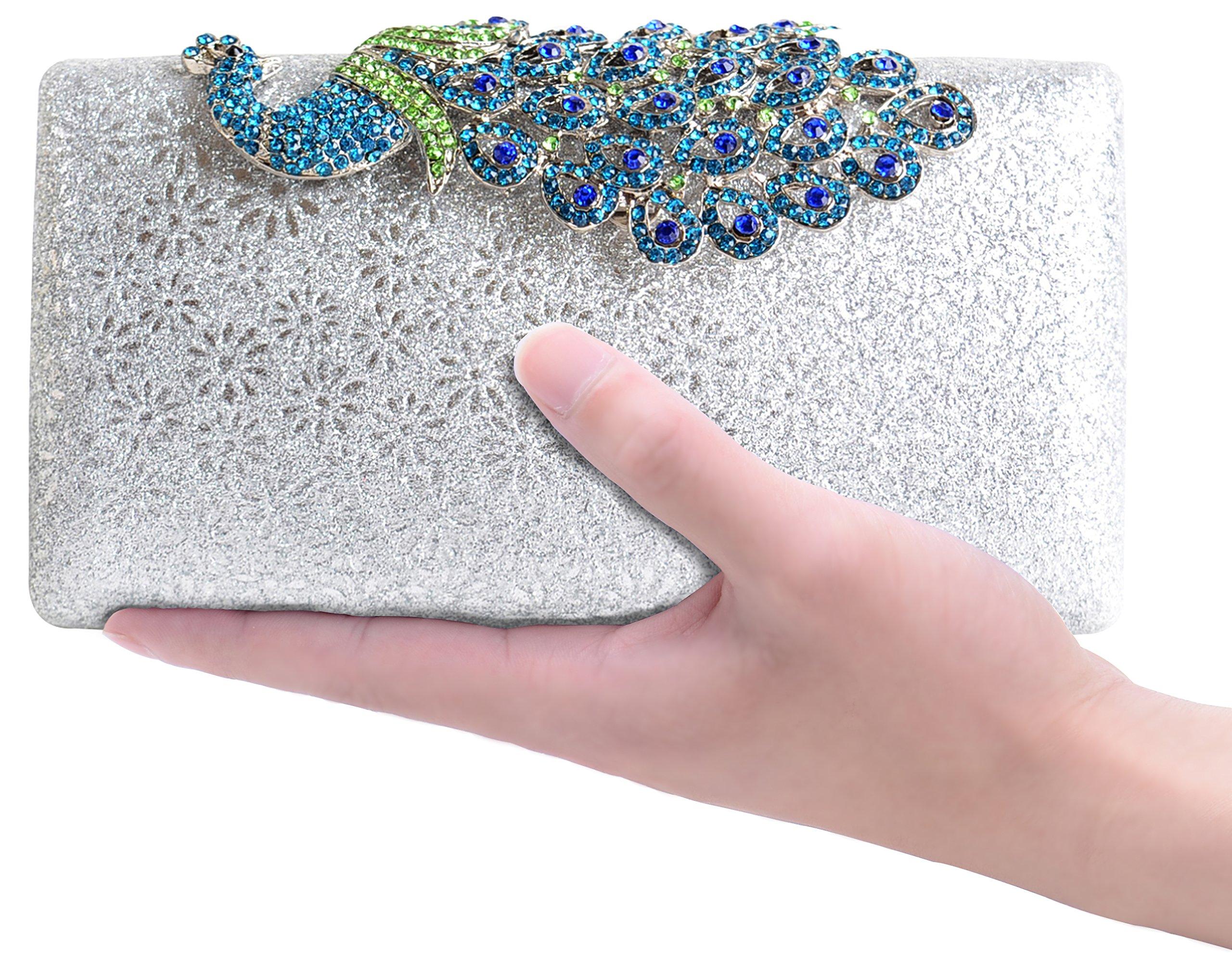 Pulama Coloured Rhinestone Peacock Clasp Handbag Evening Bling Cocktail Wedding Clutch (Silver)
