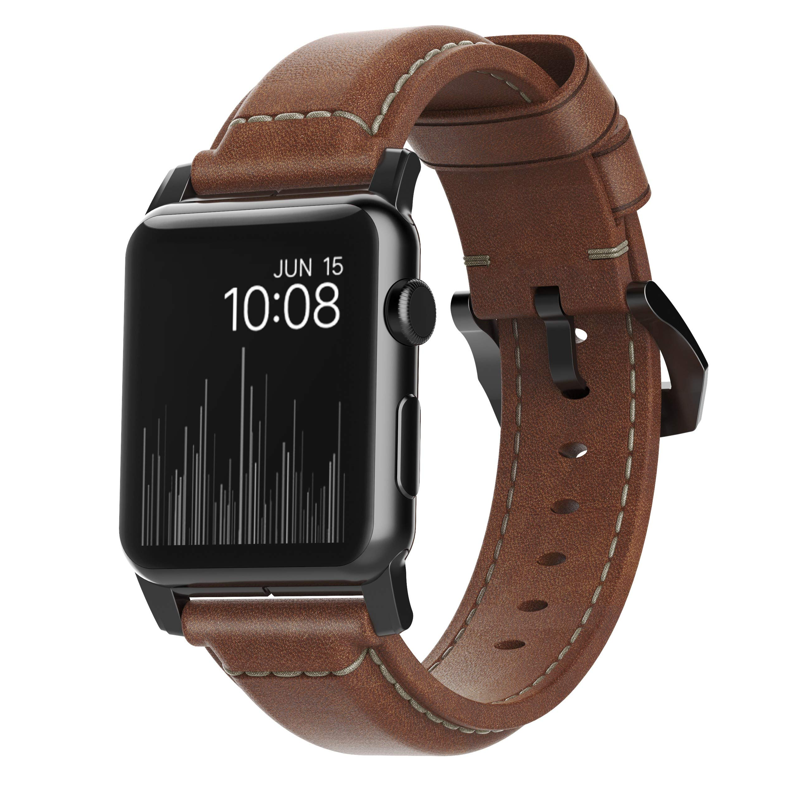 Nomad Horween Leather Strap for Apple Watch - 42mm Traditional Build - Classic Bold Look - Custom Stainless Steel Lugs and Buckle - Black Hardware