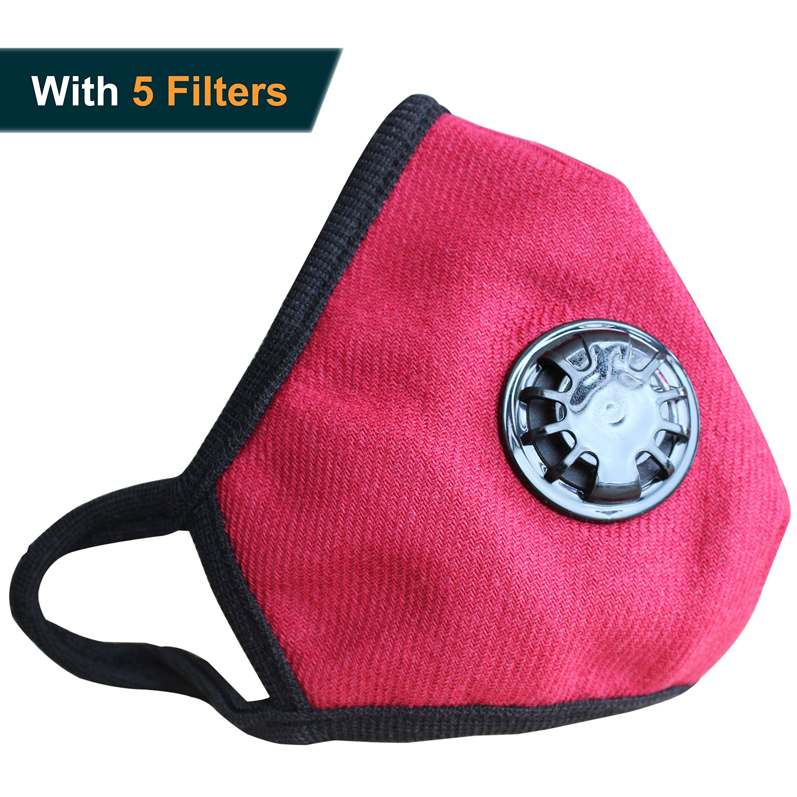 Anti Pollution Mask Military Grade N99 Respirator Mask with Valve Replacement Filter Washable Cotton Anti Dust Mouth Mask for Men Women Red