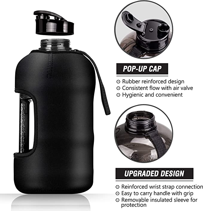 Strong Durable 2.2 Litre Water Jug with Handle BPA Free Big Sports Water Bottle Kaptron Gym Water Bottle with Case 2.2L Half Gallon Water Bottle with Insulated Sleeve- Bodybuilding Water Bottle