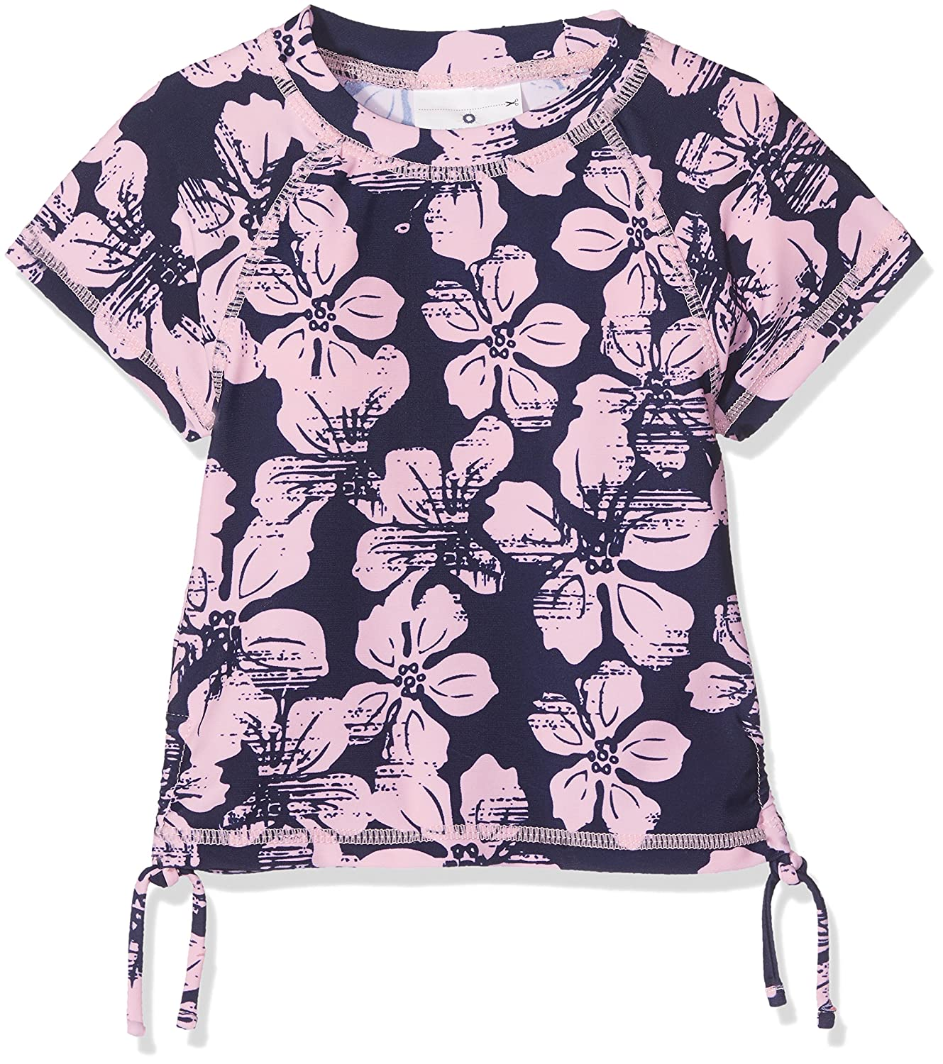 Girls Hibiscus Navy/Ballet Pink SS Rash Top UPF50+