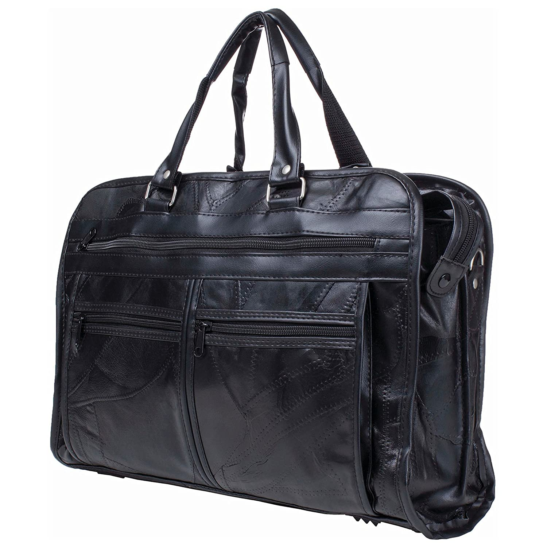 RoadPro PLB-003 Black 12-Inch Patchwork Leather-Like Shave Kit Bag 857d07699730f