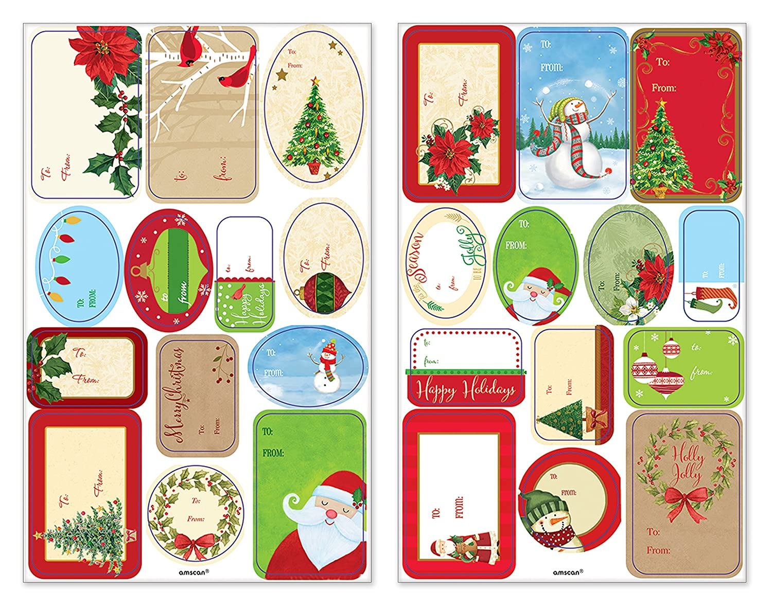 Amscan Christmas Santa Claus Stickers with Snowman 150 Stickers