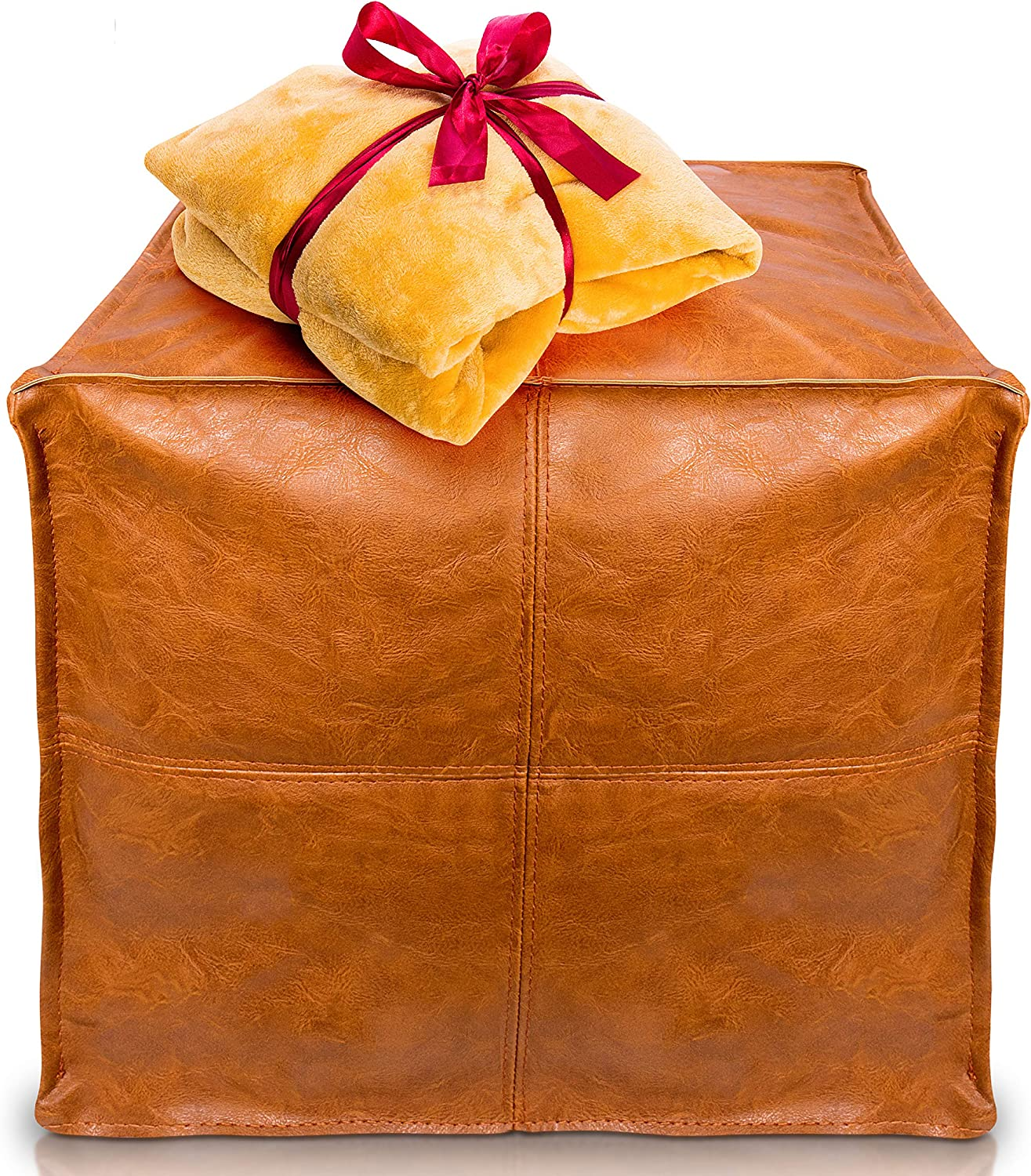 """IMMORTAR Handmade Faux Leather Moroccan Pouf Seat - Embroidered Boho Ottoman 18x18x14"""" / Living Room Bedroom TV Room/A Square and Large Hassock - Not Stuffed - (Orange Brown)"""