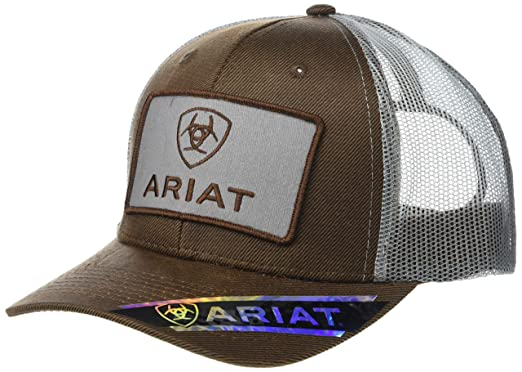061309658 ARIAT Men's Logo Patch Oilskin Snapback Cap Brown One Size at Amazon ...