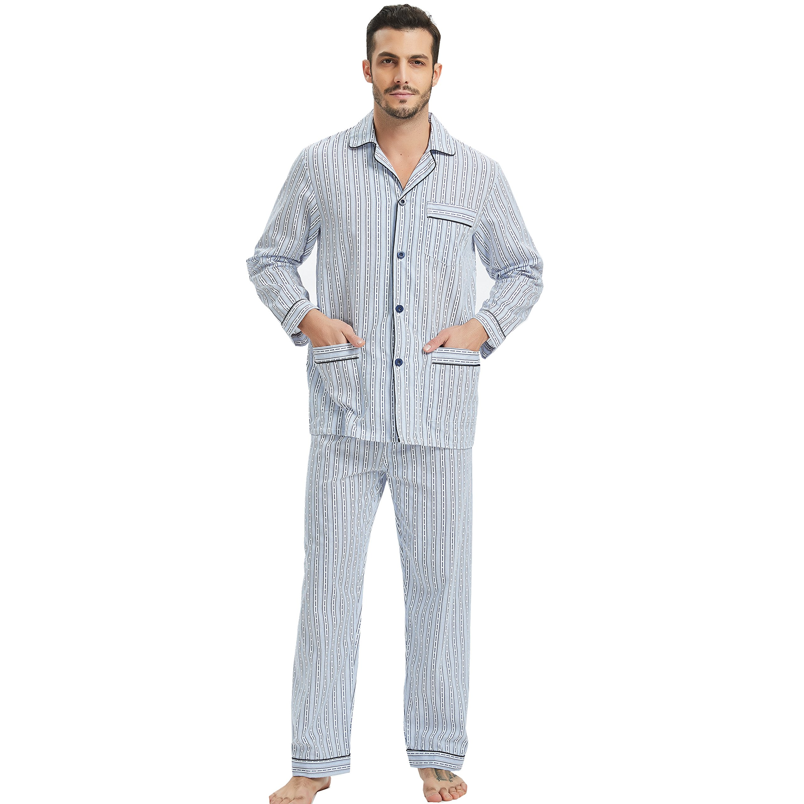 GLOBAL Mens Pajamas Set, 100% Cotton Woven Drawstring Sleepwear Set with Top and Pants/Bottoms by GLOBAL