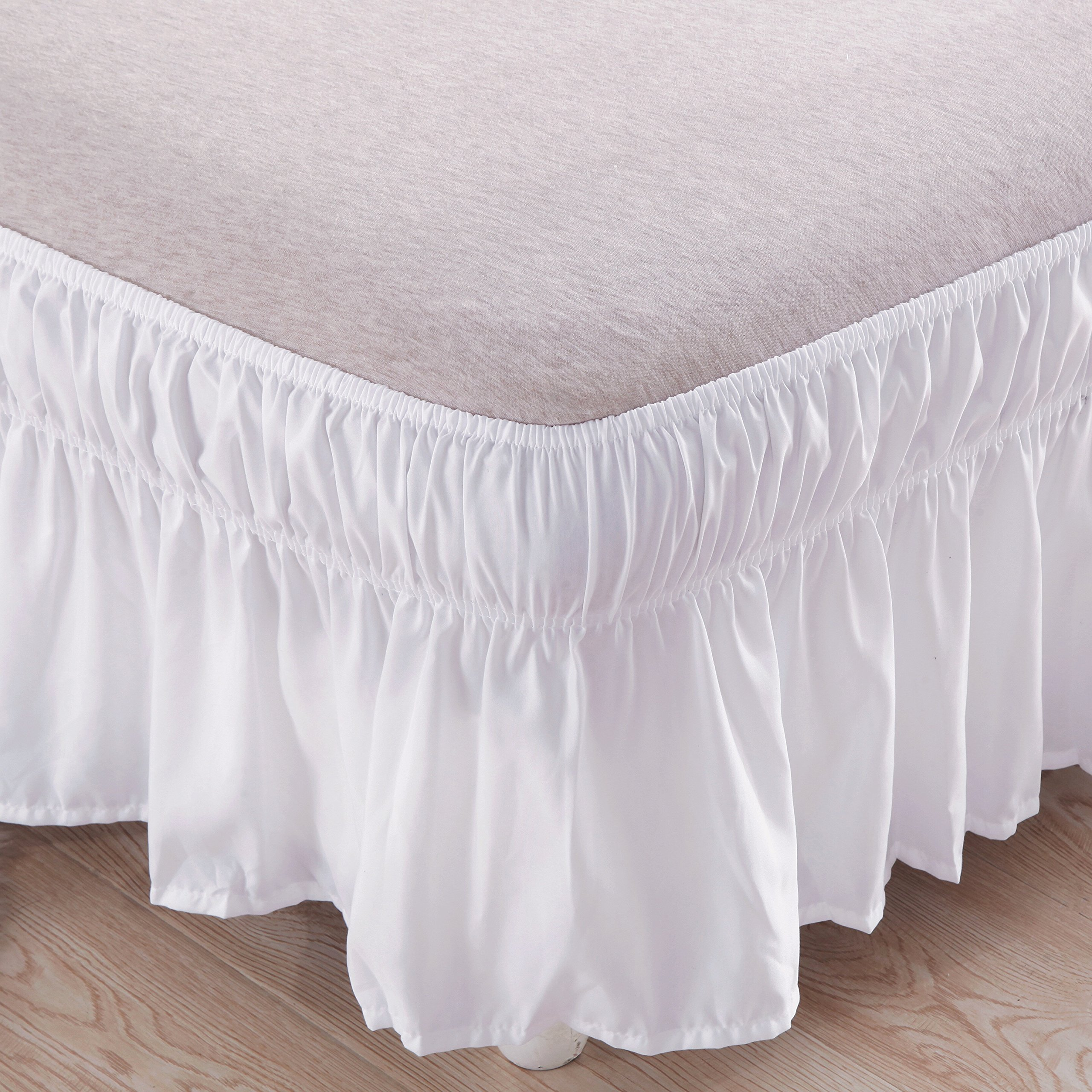 Bed Skirt-14 Inch Drop Wrap Around Ruffled (Twin/Full,White) Brushed Microfiber 1500 Adjustable Elastic Easy Fit