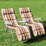 Outsunny Set of 2 Garden Patio Outdoor Sun Recliners Loungers Folding Foldable Relaxers Chairs with Cushions Fire Retardant Sponge (Coffee White)