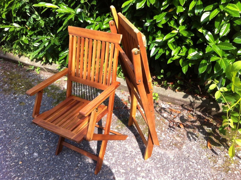 4 X Gartenstuhl Gartenstühle Akazie Gartenmöbel Holz Stuhl