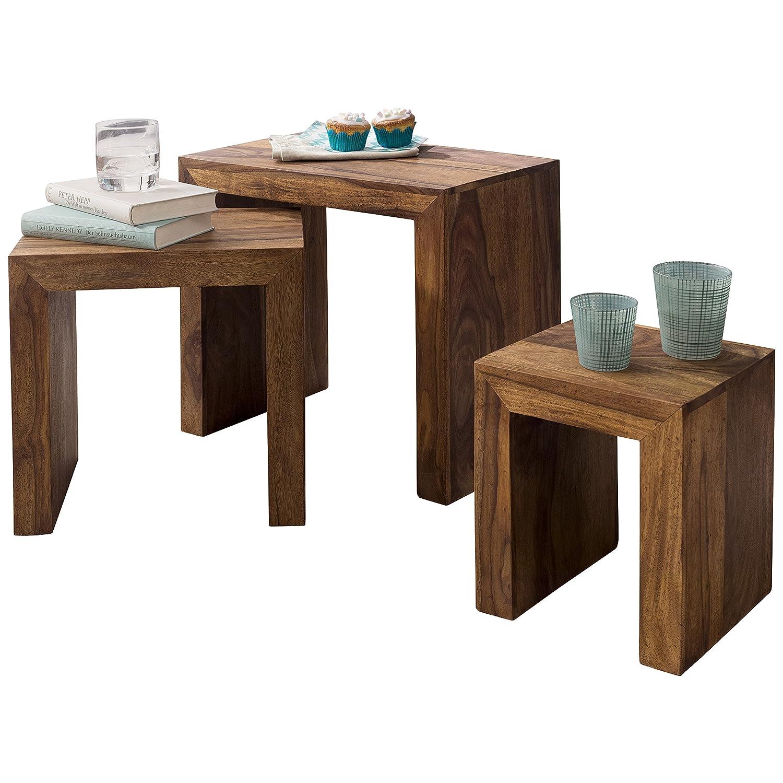 FineBuy Tables gigognes Ensemble Trois pi/èces Bois Massif Acacia 45 x 50 x 30 cm Table de Salon Meubles en Bois Table Basse Table en Bois Massif Table dappoint Style Maison de Campagne