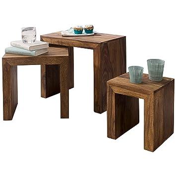 Wohnling 3er Set Satztisch Massivholz Sheesham Wohnzimmer Tisch  Landhaus Stil Beistelltisch Naturholz Couchtisch Natur