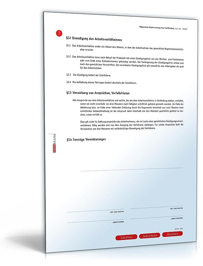 Arbeitsvertrag (DOC) - Allgemeine Vereinbarung ohne Tarifbindung ...