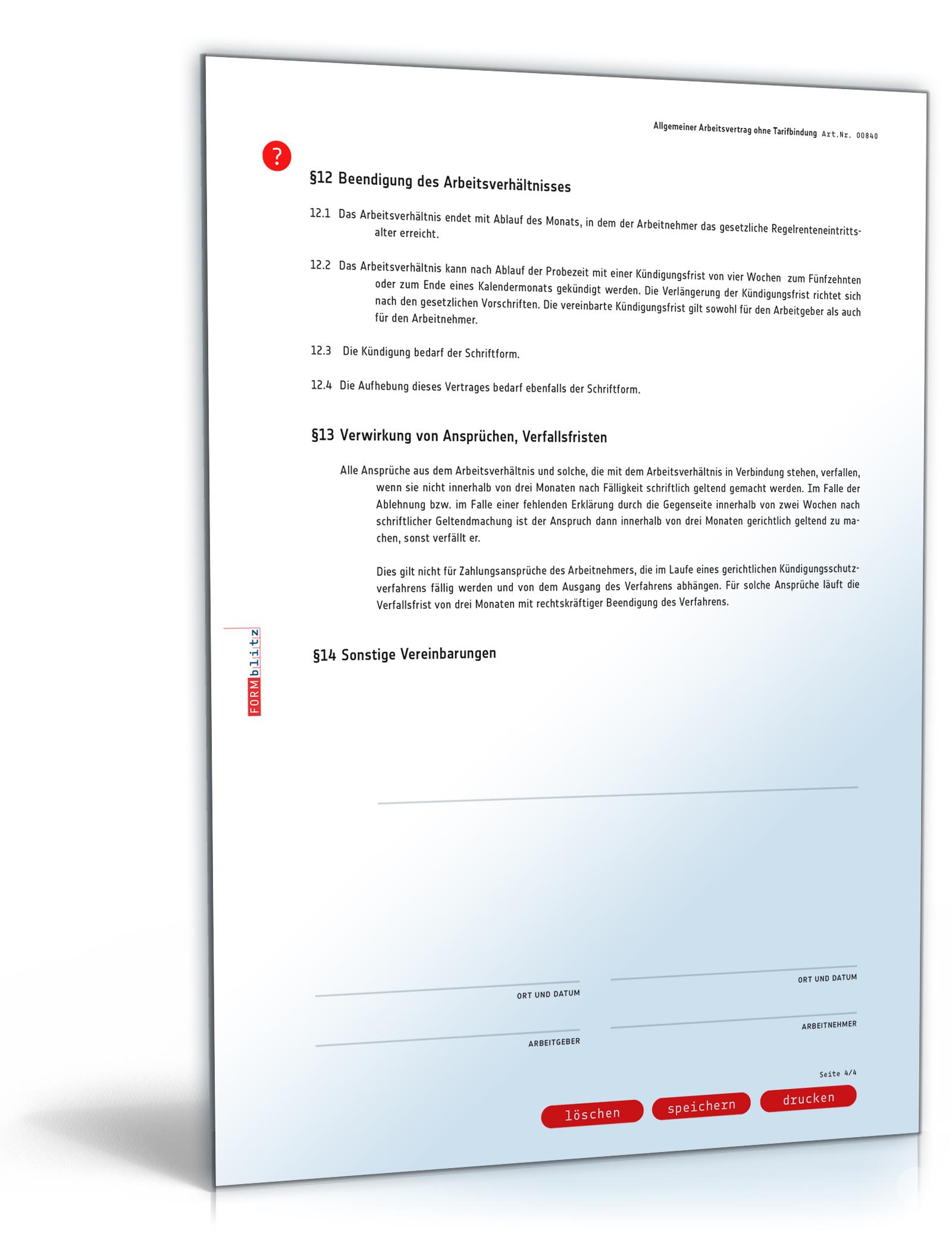 Arbeitsvertrag Doc Allgemeine Vereinbarung Ohne Tarifbindung