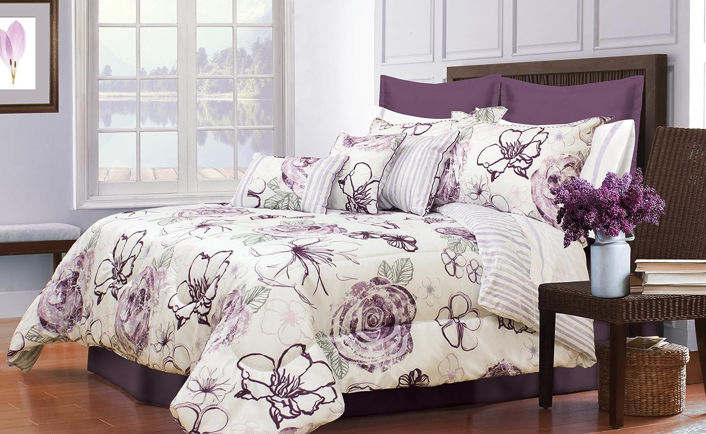 Amazon Com Safdie 60679 7k 09 Angelica King Purple Comforter Set