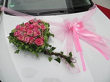 Weiß//Rot Brautauto Dekoration Autoschmuck Hochzeitsauto Rattan Autodeko