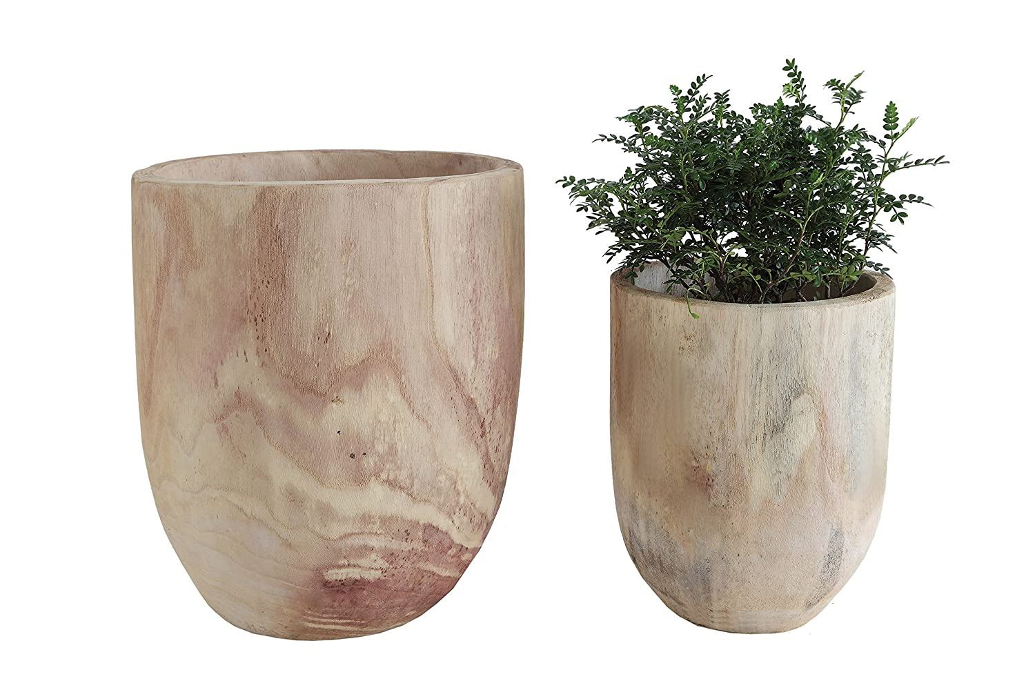 Rustic scrubbed wood rounded Paulownia pots for French farmhouse decorating and European country style rooms.