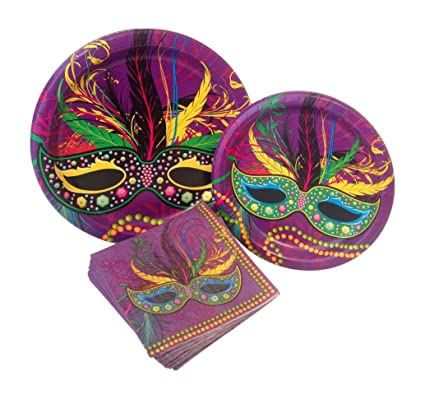Mardi Gras Party Supply Pack! Bundle Includes Paper Plates u0026 Napkins for 8 Guests  sc 1 st  Amazon.com : mardi gras paper plates - pezcame.com