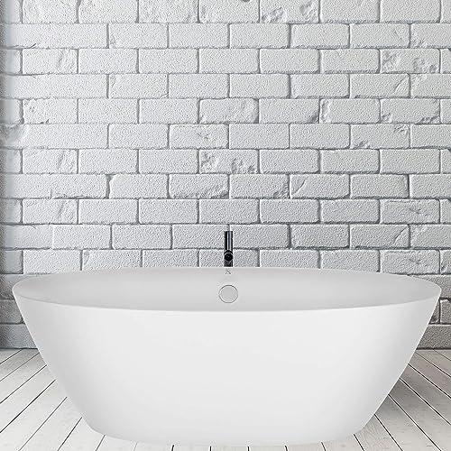 Empava 71 Inch White Modern Stand Alone Freestanding Bathtub