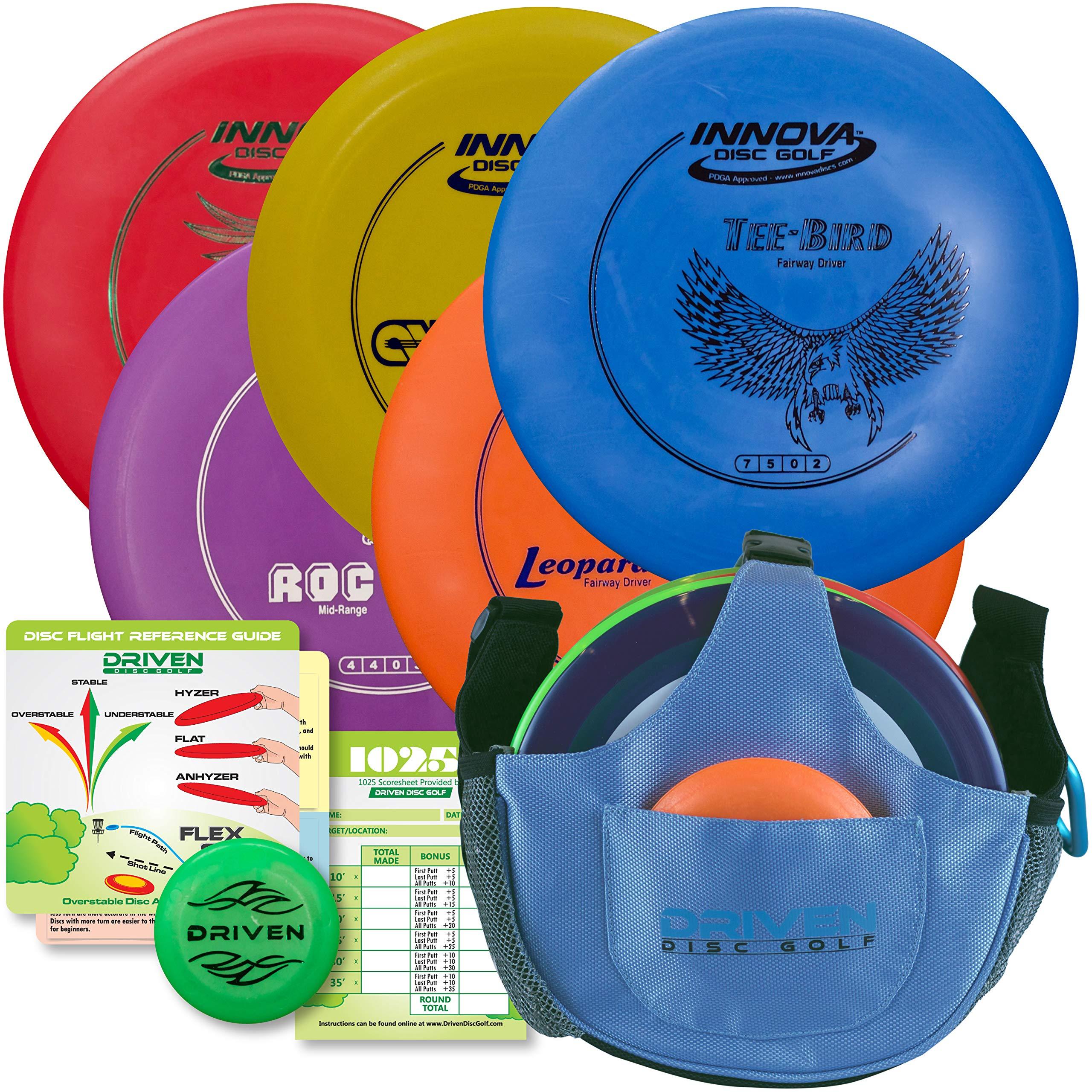 Driven Disc Golf Starter Set - 5 Disc Set with Bag by Driven Disc Golf