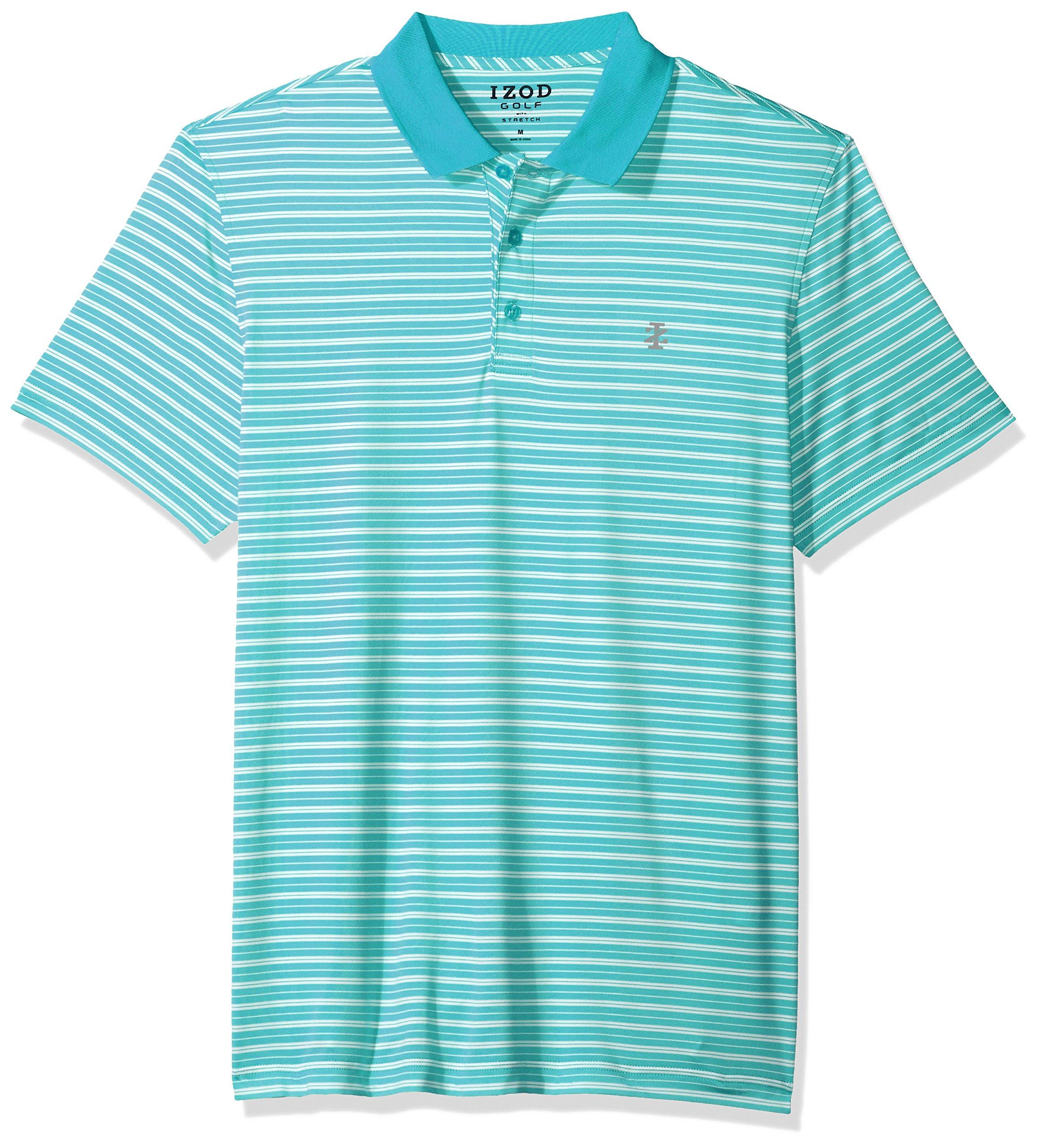 IZOD Men's Short Sleeve Textured Stripe Traditional Golf Polo, Deep Peacoat, XX-Large