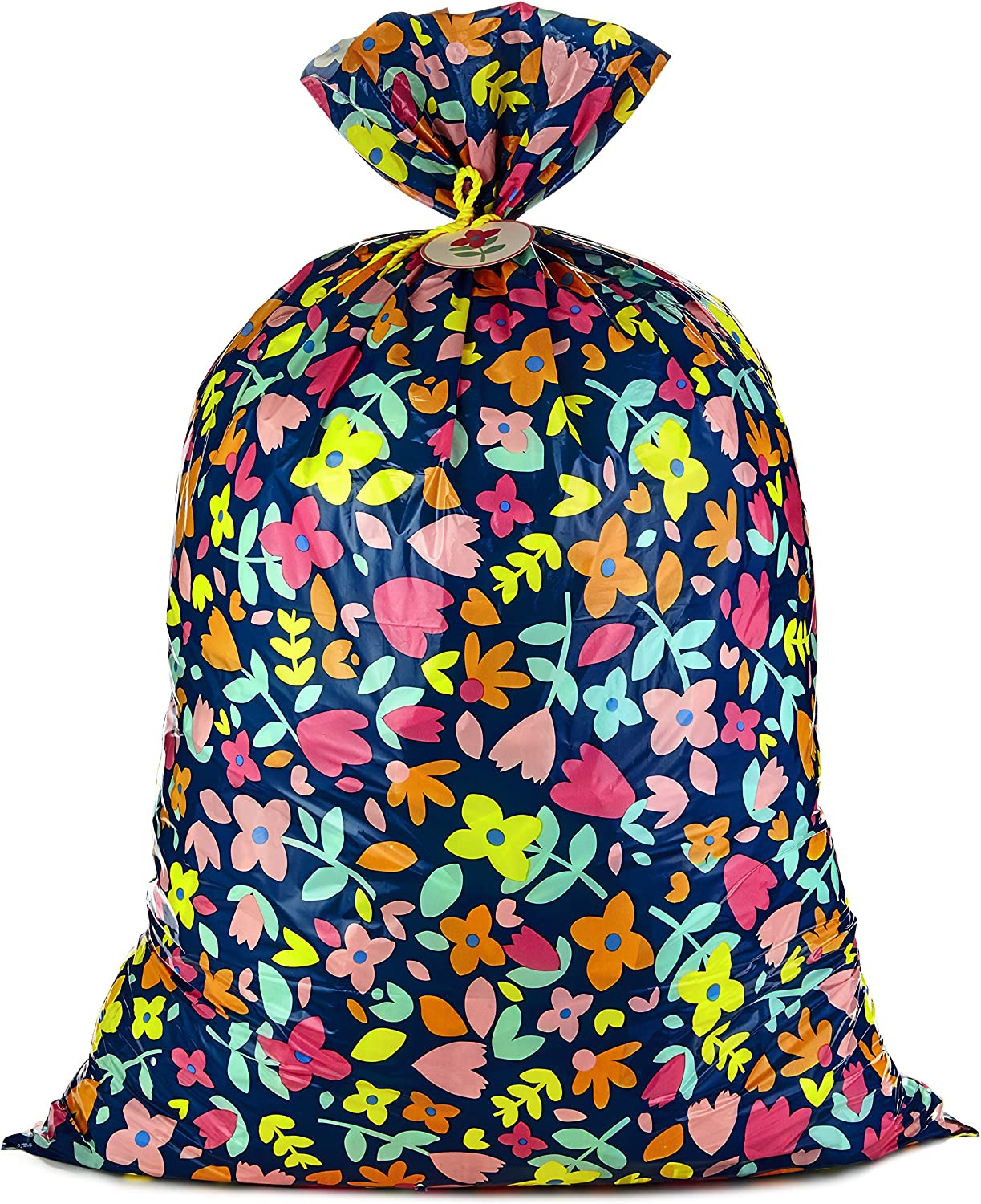 "Hallmark 56"" Jumbo XL Plastic Gift Bag (Pink and Yellow Flowers) for Birthdays, Mother's Day, Bridal Showers, Baby Showers, Engagements, Weddings and More"