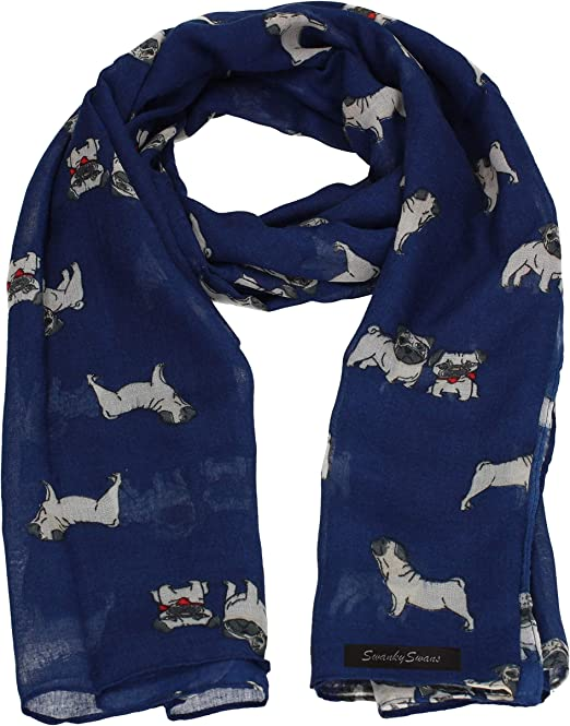 Soft and Lots of fun *NEW* Pug Dog Printed scarf or wrap NAVY BLUE