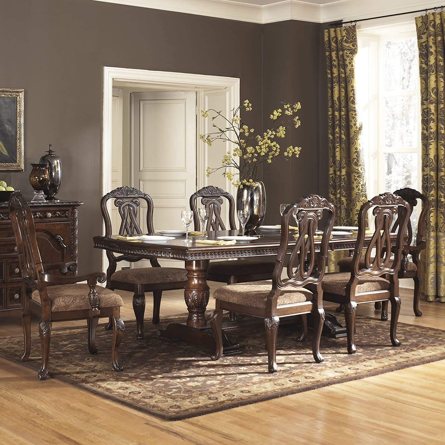 Ashley Furniture Kitchen Sets Amazoncom Ashley North Shore 7 Piece Wooden Dining Table Set
