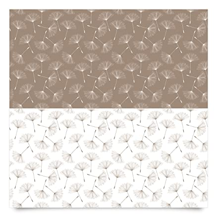 Pellicola adesiva - Dandelion pattern in mocha and polar white ...