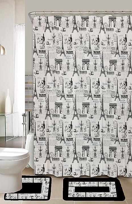 Paris Limited Edition 15 Piece Bathroom Set!! 2 Bath Mats Poly Acrylic Pile  Rubber