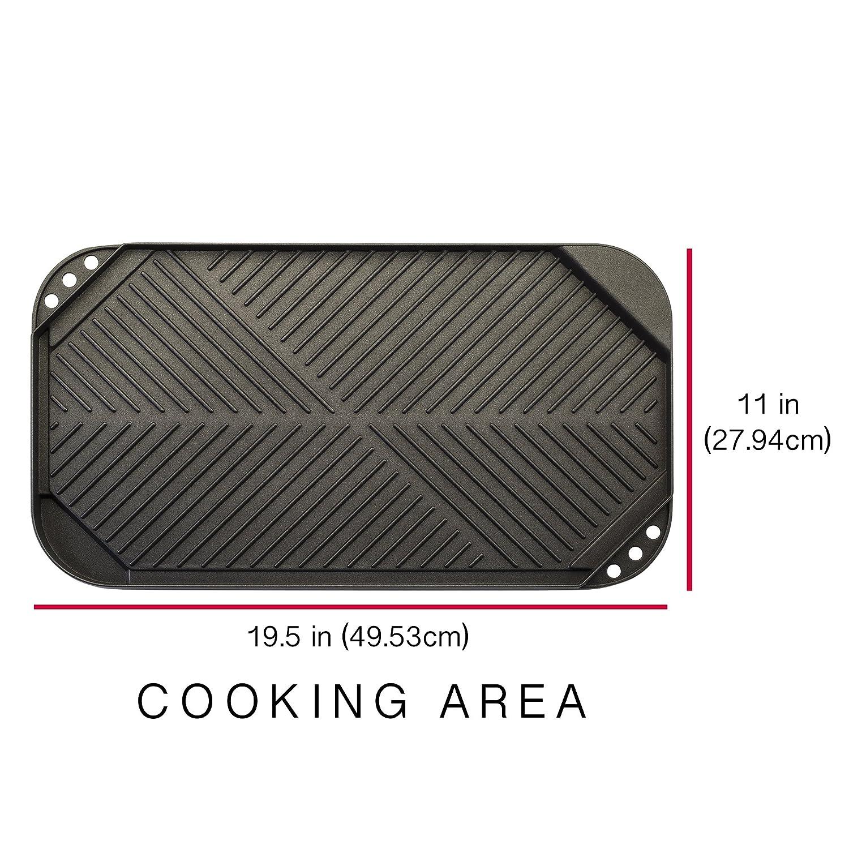 Cast Aluminum Epoca Inc Stovetop Reversible Double Burner 19.5 x 11 Inch Ecolution Grill//Griddle ECAG-3220