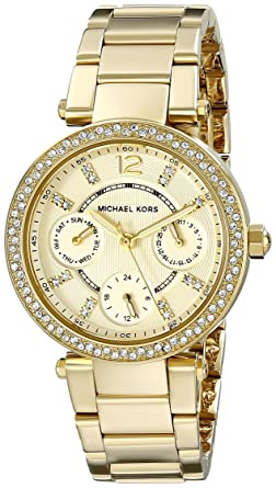 8bbd3e135e4 Image Unavailable. Image not available for. Color  Michael Kors Women s Parker  Gold-Tone Watch MK6056