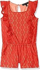 315c714b6cf53 Derek Heart Girls' Big Allover Lace Ruffle Front Romper