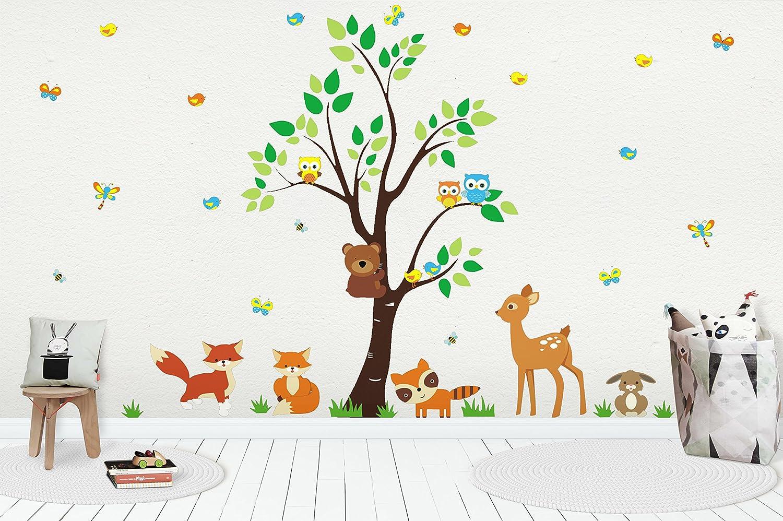83 x 97 Kids Art Kids Room Decals Animal Wall Decor Baby Decals Large Tree Decal Baby Boy Nursery Decals Baby Boy Decals