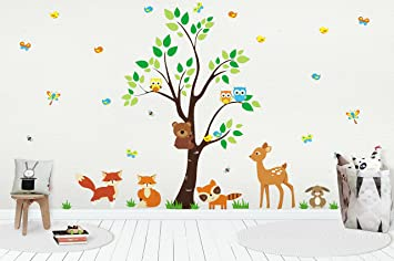 Forest Nursery Decals - Woodland Nursery Stickers for Baby Room - Wall Decals for Kids - : decals wall forest - www.pureclipart.com