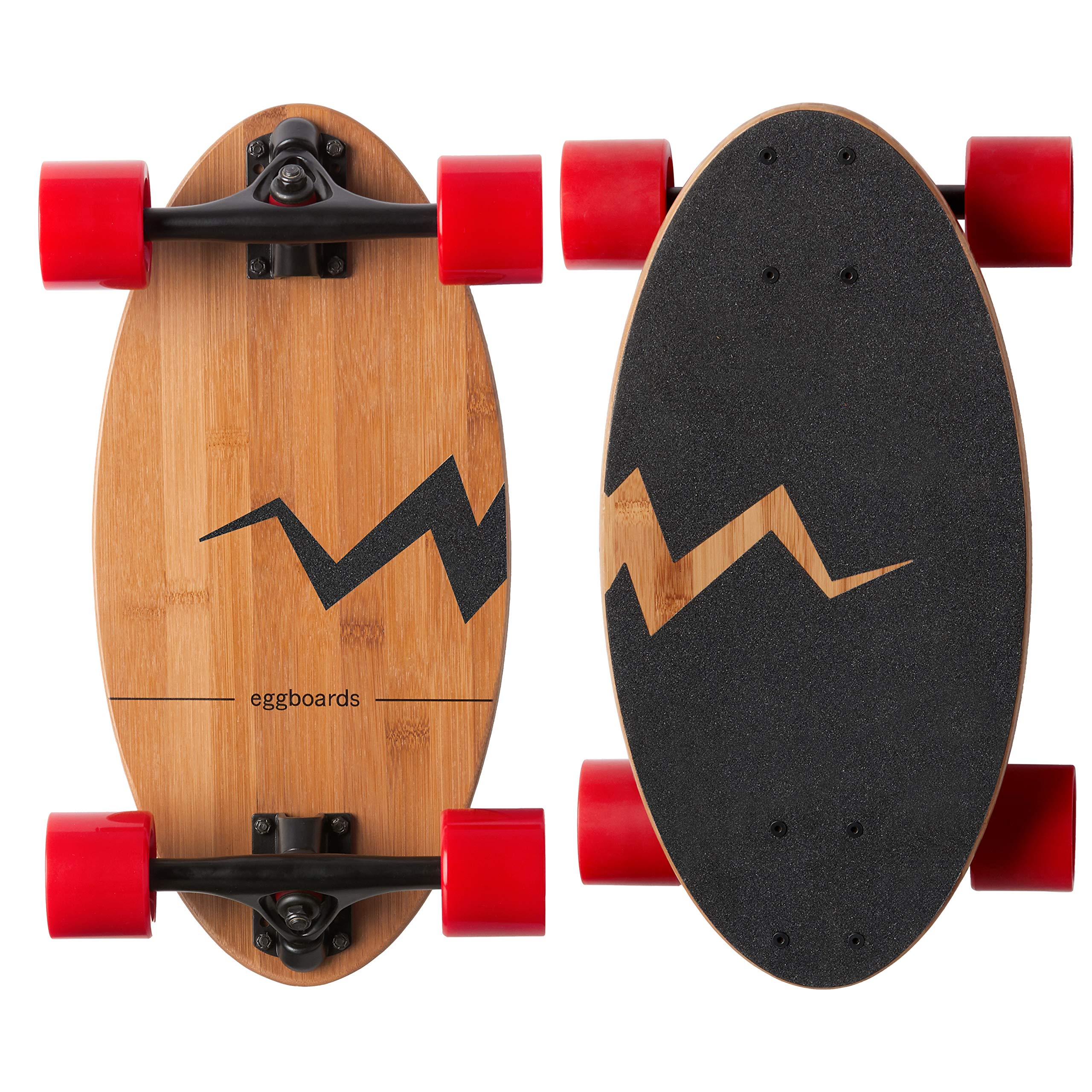 Eggboards Mini Longboard Bamboo Wood - Sustainable Compact Skateboard for Adults and Kids. Easy to Carry, Smooth to Ride