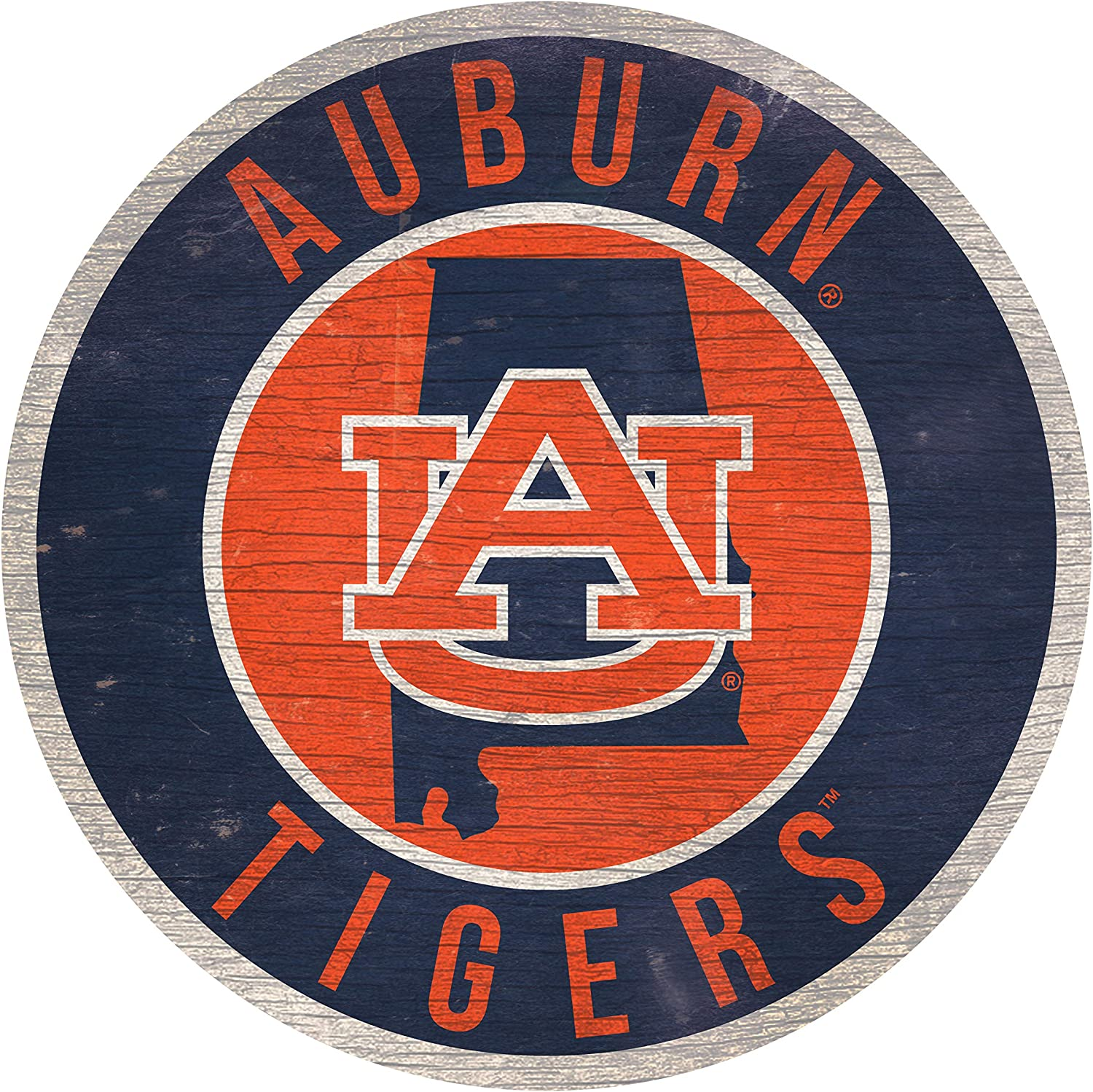 """NCAA Auburn 12"""" Circle with State and Team Logo Wood Sign"""