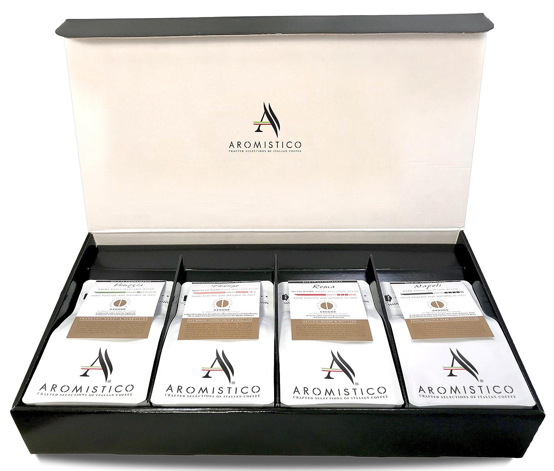 Aromistico Gourmet Ground Coffee Gift Basket (Variety Classic Selection Sampler - 4 x Premium Italian Ground Coffee)