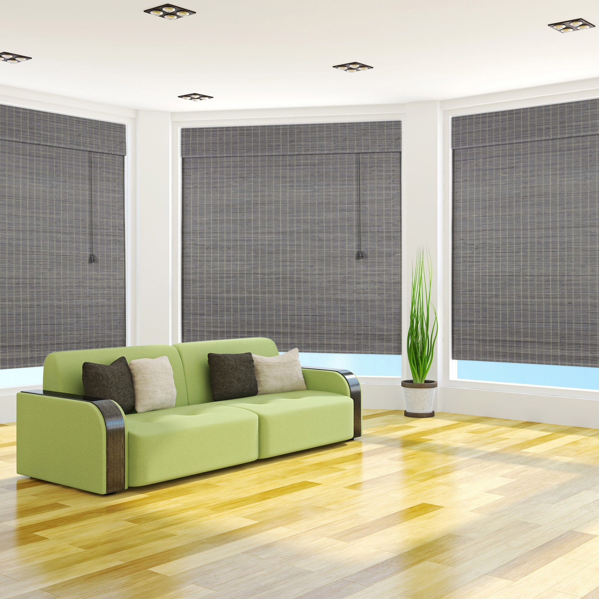 Arlo Blinds Privacy Greywash Bamboo Roman Shade with Valance - Size: 27'' W x 54'' H