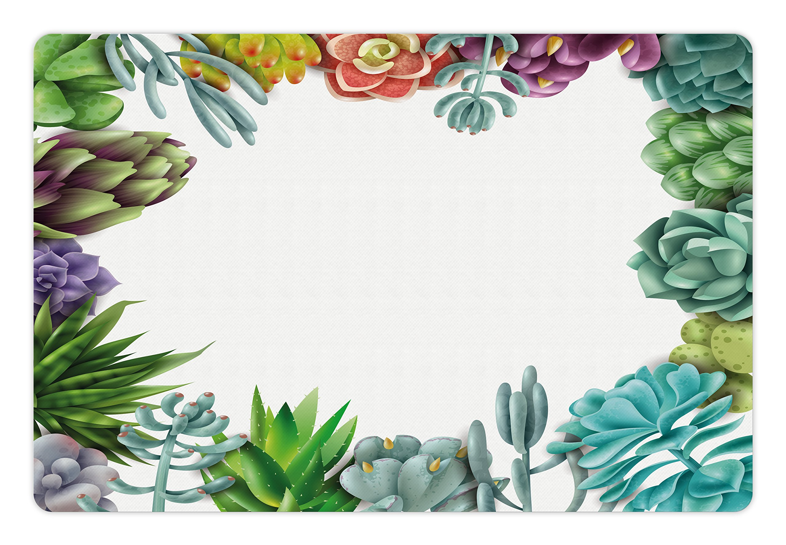 Lunarable Succulent Pet Mat for Food and Water, Frame with Various Succulent Plants Collection Vivid Garden Tropical Nature Image, Rectangle Non-Slip Rubber Mat for Dogs and Cats, Multicolor