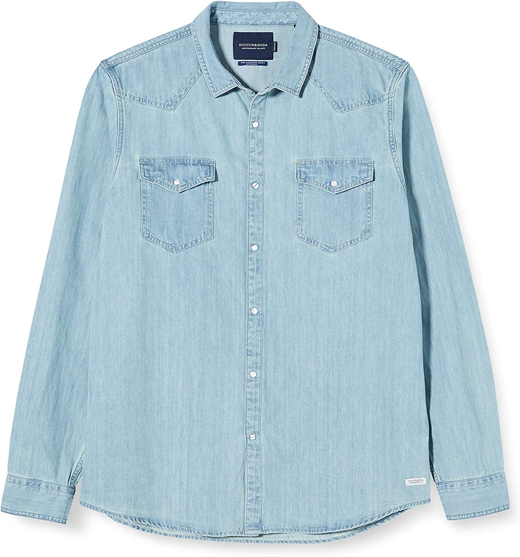 Scotch & Soda AMS Blauw Denim Western Shirt In Seasonal Washes Camisa para Hombre: Amazon.es: Ropa y accesorios