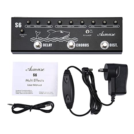 Asmuse Multi-effects Pedales para Guitarra Bajo eléctrica Distorsión Delay Chorus Effects Pedal Multifuncional de