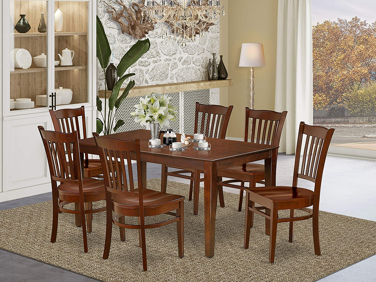 East West Furniture Wood Dining Table Set 9 Pc   Wooden Dining Table Chairs  Seat   Mahogany Finish Wood Dining Table and Structure