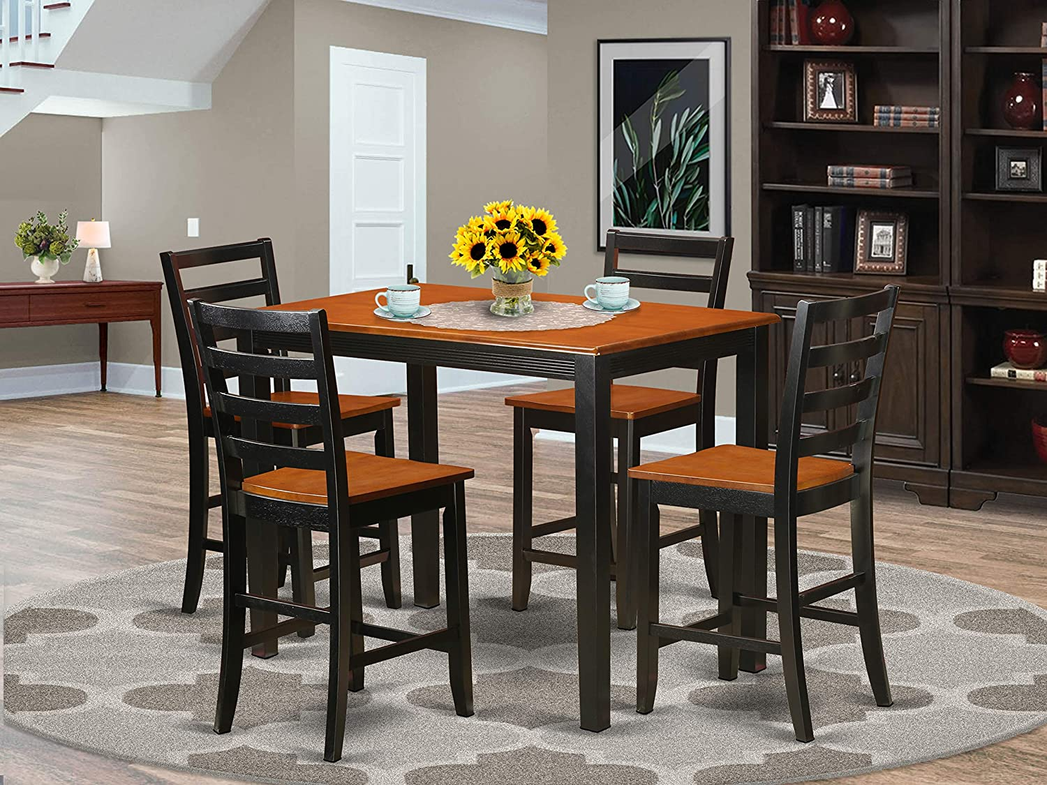 Amazon Com 5 Pc Counter Height Pub Set Small Kitchen Table And 4 Bar Stool Furniture Decor